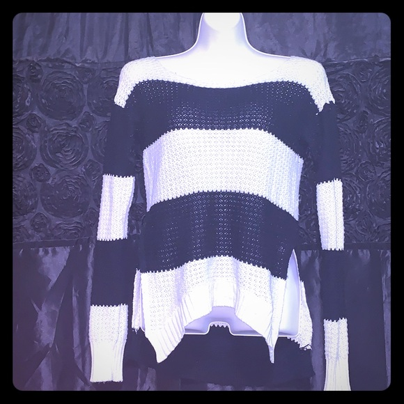 Poof! Sweaters - Black and white striped knitted sweater.
